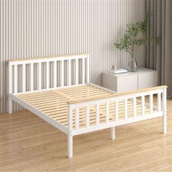 Cama de madera maciza de madera de pino de 1,8m de cama de matrimonio de estilo europeo moderno y minimalista Muebles de Dormitorio 0644