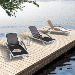 호텔 수영장 옆 실외 해변 알루미늄 슬링 라운지 침대