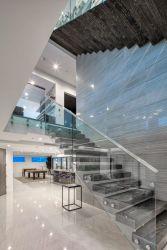 木製の踏面が付いている現代浮遊ステアケースまっすぐな内部階段