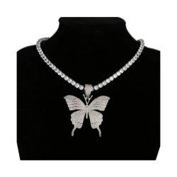 Donne della collana di tennis di fascino della farfalla del diamante dei monili del Choker del Rhinestone