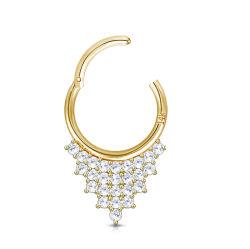 14 kt Gold CZ verharde Driehoektaneel scharnierende segment ring Piecing Sieraden