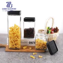3pcs Set empilable bocaux en verre Square pilier stockage multifonctionnelle Bean pot de verre de stockage d'épices avec couvercle à vis 480ml 720ml 1300ml