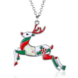 European Personality Cute Jewelry Wholesale Elk Moose Emaille Christmas Accessories Hanger Necklace