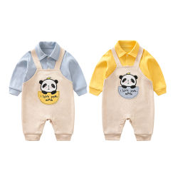 Großhandel Neugeborenen Baby Onesie Strampler für Herbst / Frühjahr Bär Muster Pyjama Baby Nette Mode Kleidung