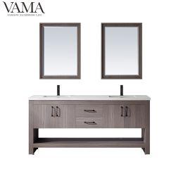 Vama debout de plancher de 72 pouces Double salle de bains en bois de bols Cabinet 770072