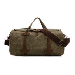 Exército de lona impermeável Verde Saco de viagem Couro Caryon Sobredimensionado Weekender Duffle Bag (RS-MS12036)