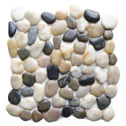 Carrelage de sol en pierre de galets/ Couleur de la pierre pour la décoration d'accueil/ Pierre de galets ronds blancs