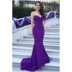 シンプルな設計の人魚のトランペットの紫色のイブニング・ドレス