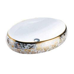 Grande taille ovale Handpainted Shining Gold de l'autocollant du bassin de lavage du bassin de la salle de bains antiques du Cabinet du dissipateur