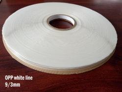 9/3mm revestimiento OPP adhesivo resellables Precinto impreso la línea blanca transparente película versión tira adhesiva de doble cara de bolsa de PE