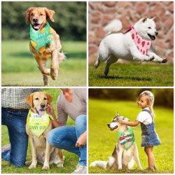 애완동물 반다나 액세서리 - 소형 대형 개 및 귀리 조절 가능 애완용 애완견 스카프 생일 파티 선물 여름