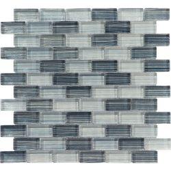 Hechos a mano de 23X48 Mixto gris de 8 mm de cristal cristal decorativo mosaicos