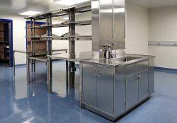 Acero inoxidable Trabajos de Laboratorio de Química de la banqueta banqueta Mobiliario de laboratorio con el gabinete