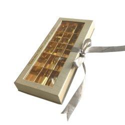 Luxe Logo personnalisé célèbre Golden Fenêtre PVC Dates chocolat emballage avec Golden titulaire