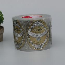 L'abitudine cinese del fornitore ha stampato il contrassegno adesivo della bottiglia di vino del rullo