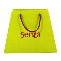 贅沢なペーパー創造的なショッピング緑色印刷カスタマイズロゴバッグ包装綿ロープ