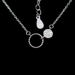 Мода CZ камень двойной вечер округлой формы ожерелье с сверкающие серебряные украшения
