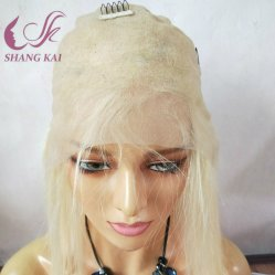 613 Pleno encaje peluca de pelo corto europeo ruso Virgen rubia peluca peluca delantera de encaje con el cabello del bebé