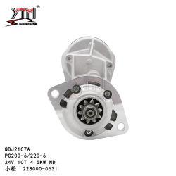 قطع غيار محرك الحفار الخدري 228000-0631 بادئ حركة 10T بقدرة 4,5 كيلو واط بقدرة 10000 فولت محرك لكوماتسو Cummins 6D102 PC200-6/220-6