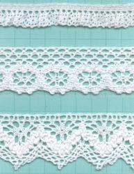 Nueva llegada de color blanco puro encaje de algodón/ Puntilla Purfle (0857)
