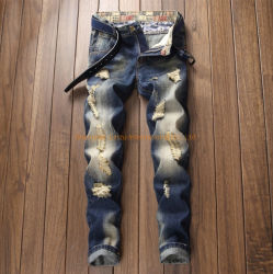Slim Fit estrecho tramo de la moda Brazalete destruido hombres motocicleta Biker cepilla Jean Pantalones Hombres Hombres jeans ajustados pantalones de mezclilla Jeans niños ropa ropa ropa de adultos
