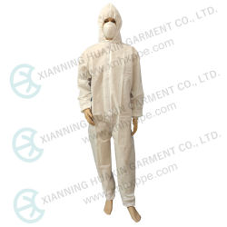 النوع 5/6 أبيض SMS مقاومة الغبار السلامة العمل مقاومة للالتهاب الرئوي ملابس واقية تسمح بمرور الهواء