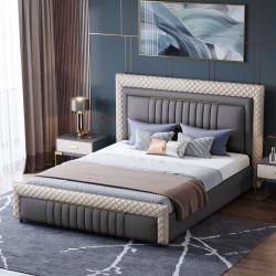 Hyc-Bl05北欧の贅沢な寝室の家具の柔らかい革ソファーベッドの現代寝具セット