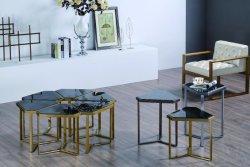 Acabado de Cobre pulido mesa de café con la naturaleza, encimera de mármol