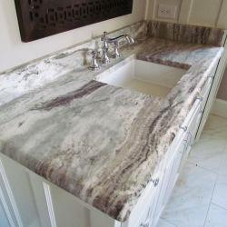 30mmの厚く自然な浴室のための石によって磨かれるカスタム想像のブラウンの花こう岩のカウンタートップか台所またはWorktopsまたは虚栄心またはプレハブまたはホテルのプロジェクトまたは家