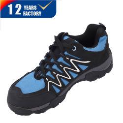 شهادة CE عالية الجودة من الجودة لرجال الجلد الأسود الأزرق أحذية السلامة أثناء العمل مع شبكة Flyknit