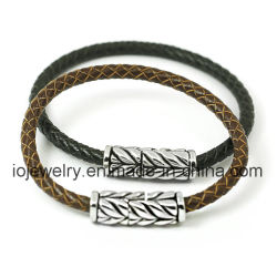 Простой классический дизайн браслет из натуральной кожи для мужчин