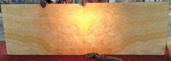 Bookmatched retroiluminado 12mm de espessura Mel amarelo Onyx pedra de berilo+5mm Painel de bordo composto de vidro temperado