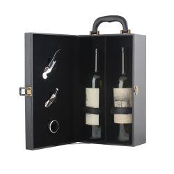 Usine directement l'emballage en bois papier imitation cuir Boîte de vin