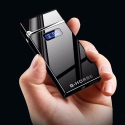 LED電池の表示器を含む2019年のギフト二重アーク血しょうライター電気USBの再充電可能なカスタムロゴライター