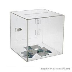 Casella acrilica su ordinazione di donazione del cubo di suggerimento con la porta aperta e la serratura