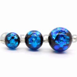 Perles fantaisie japonais lumineux de gros de perles de verre perles, rond bleu