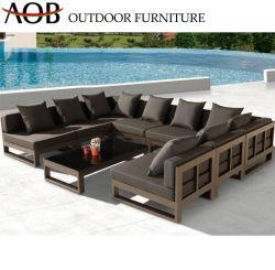 Pátio exterior moderno mobiliário de salão de lazer do Resort em casa em U de alumínio sofá de canto com mesa de Vidro