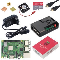 Originele Framboos Pi 3 ModelB plus met Macht WiFi&Bluetooth+ABS Case+CPU Fan+3A met on/off Switch+Heatsink Pi 3b+ Pi3 B+