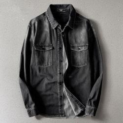 أدينا ريترو جينز قمصان طويلة الأكمام القمصان الأمريكية من الربيع للرجال قميص قطن قطنية من القطن نقد معدني للرجال من القطن الكبير غير الرسمي تخصيص معالجة النمط