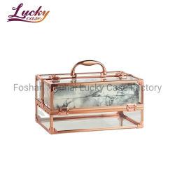 로즈 금 아크릴 메이크업 케이스 휴대용 아름다움 장식용 저장 상자