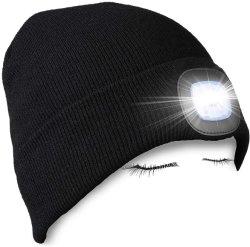 3개의 일 최빈값 남자, 여자를 위한 빛을%s 가진 남녀 공통 겨울 온열 장치 니트 모자를 가진 베레모 모자 Headlamp가 격상된 LED에 의하여 점화했다