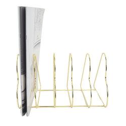 Nuevo diseño de nivel 5 de alambre de hierro del Corazón de Oro de Rack de almacenamiento portátiles Cargador de escritorio Porta Rack Magezine CD