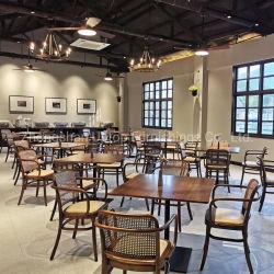 Mobiliário de madeira Café Restaurante apresenta cadeiras de jantar em madeira com braços (SP-CE156)