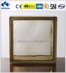 Haute qualité couleur brun trouble Jinghua 190x190x80mm/bloc de brique de verre
