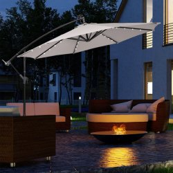 야외 옵셋 선우산 정원 칸틸레버 솔라 LED 파티오 우산 파라솔