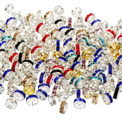 Rhinestone Rondelle Distanzstück bördelt 4/6/8/10mm multi Armband-Halsketten-Zubehör die Farben-Kristall-der Raupe-DIY