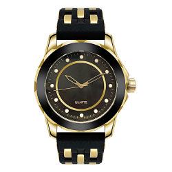 Специального диапазона IP покрытие Gold Черная косметическая панель часы для мужчин