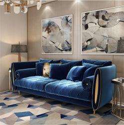 Tela de lujo acolchado Argyle sofá de Salón Muebles de hogar fija camilla de cojín de terciopelo espejo Armside Metal
