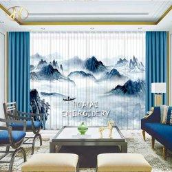 Diseño de impresión mayorista de material de tejido de poliéster cortinas blackout Cortina para el Salón de la ventana
