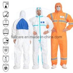 Tipo 3 4 5 6/químicos retardantes de chama/FR/Folha microporosa/PP/SMS/à prova da indústria/Laboratório/Segurança/Trabalhar/ Nonwoven descartáveis fato-macaco de protecção Cat3 marcação EN 14126 1149